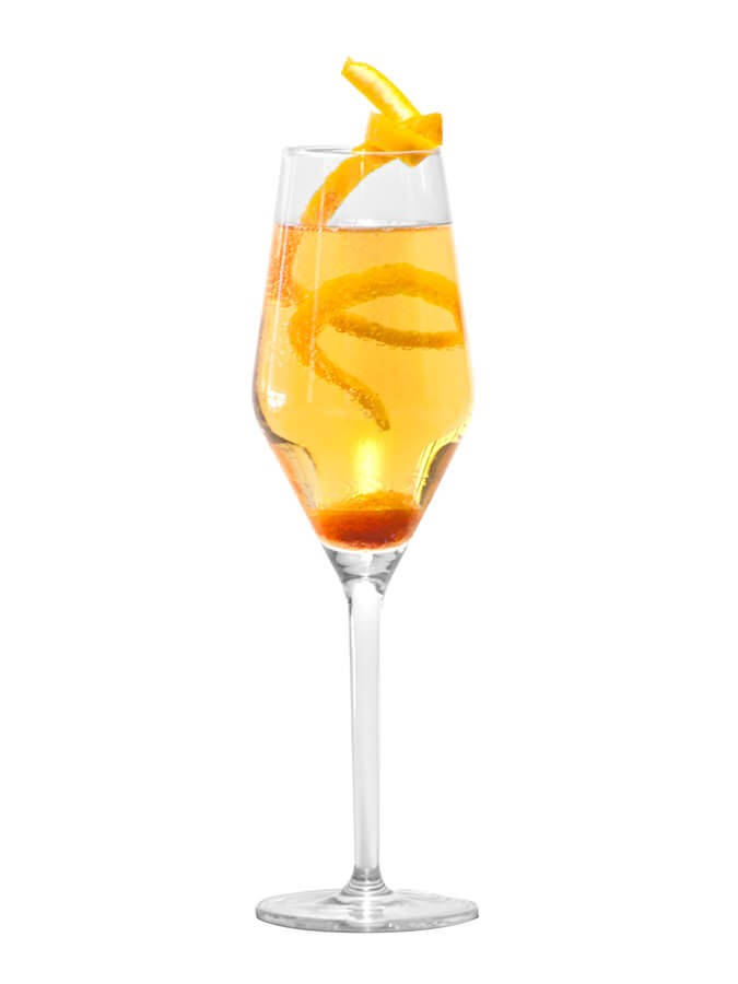 Champagne cocktail cocktail recipe shakethat for Champagne mixed drinks